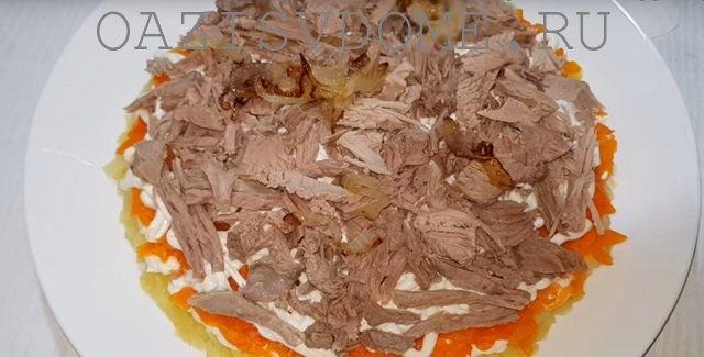 Слой мяса в салате