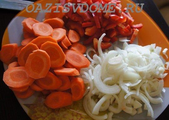 На фото нарезанные овощи